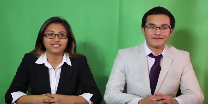 Deimy+Gutierrez+and+Fredy+Manzanares+anchored+the+first+video+news+cast+of+the+school+year%2C+in+the+Broadcast+Journalism+class.+