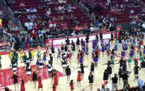 Cheerleaders perform at Houston Rockets game