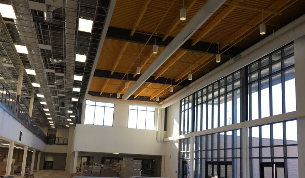 Inside the main front entrance to the new two-story building, that will be trimmed in grey and gold colors.