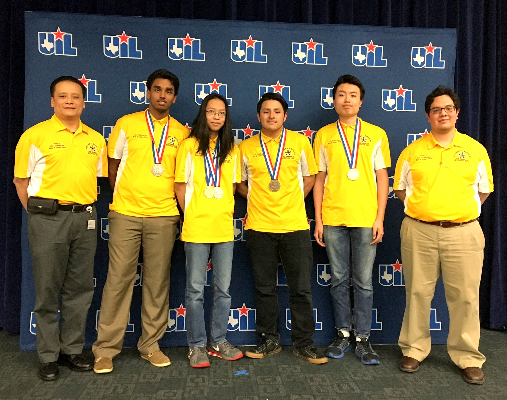 (L-R) Wisdom HS Principal Jonathan Trinh, Yash Gurijala, Ethan Song, Mauricio Guerrero, Aaron Ni, Head Coach Eridani Alcantar. The Generals finished in 2nd Place in Calculator Applications at the UIL Academic State Championships at the University of Texas in Austin.