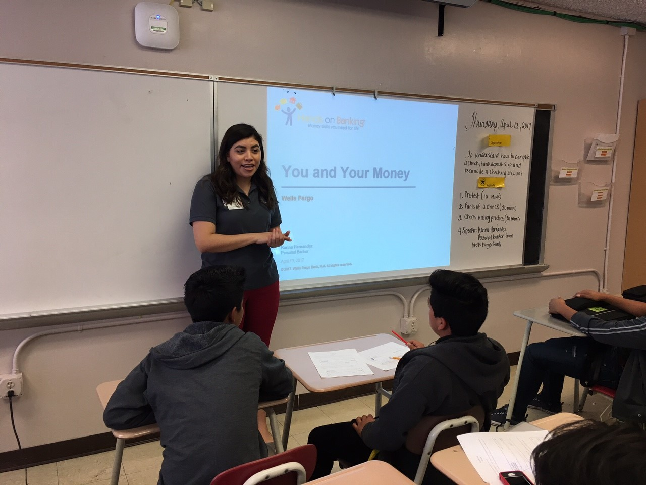 2012 Lee HS Graduate Karina Hernandez spoke to the students in Mrs. Wilkins' class about financial responsibility.