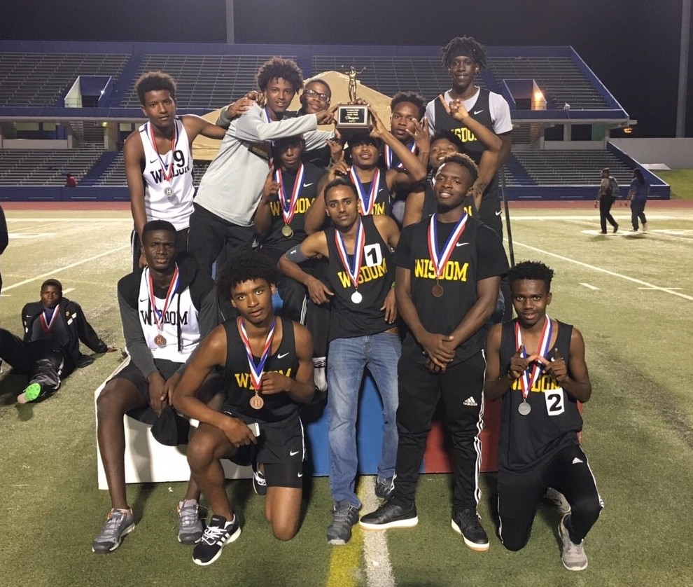 The Wisdom HS Track & Field Team celebrates their district championship on Thursday, April 13.