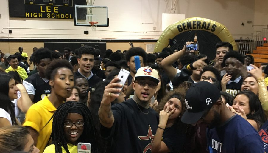 Kirko Bangz joins G-man and Chile from 97.9 The Box at Wisdom Pep Rally