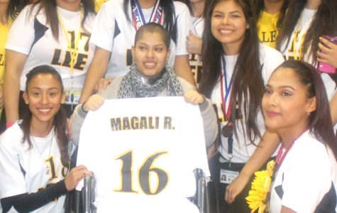 Magali with the girls soccer team.