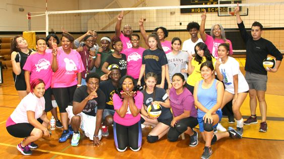 The Varsity Volleyball team held a fundraiser for breast cancer awareness month, by playing a game against the faculty.