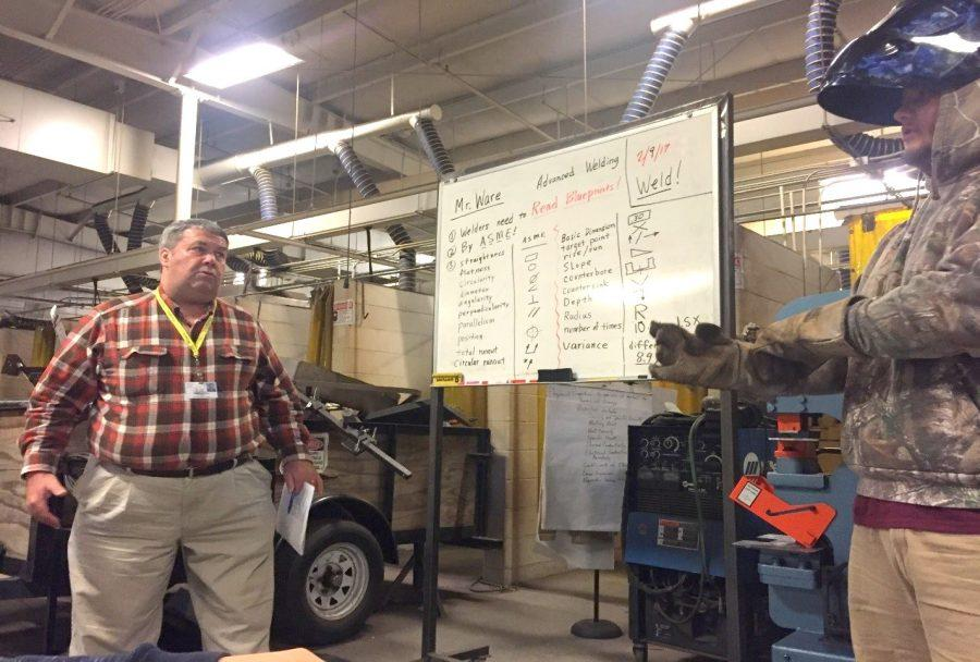 Mr. Ware teaches welding in the building across Unity street.