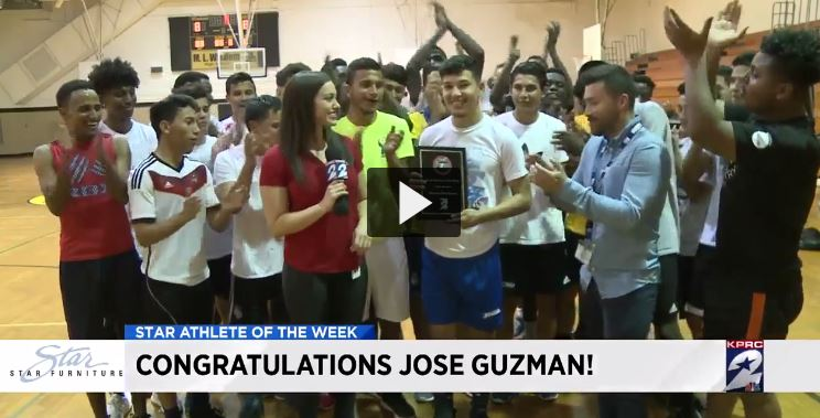 KPRC-TV Named Wisdom Soccer Player Jose Guzman their Star Athlete of the Week on March 30, 2017.