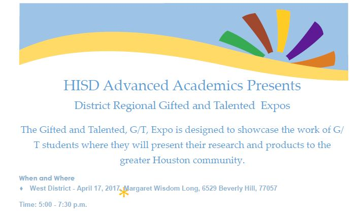 Houston ISD Gifted & Talented Expo to be Held at Wisdom HS on April 17