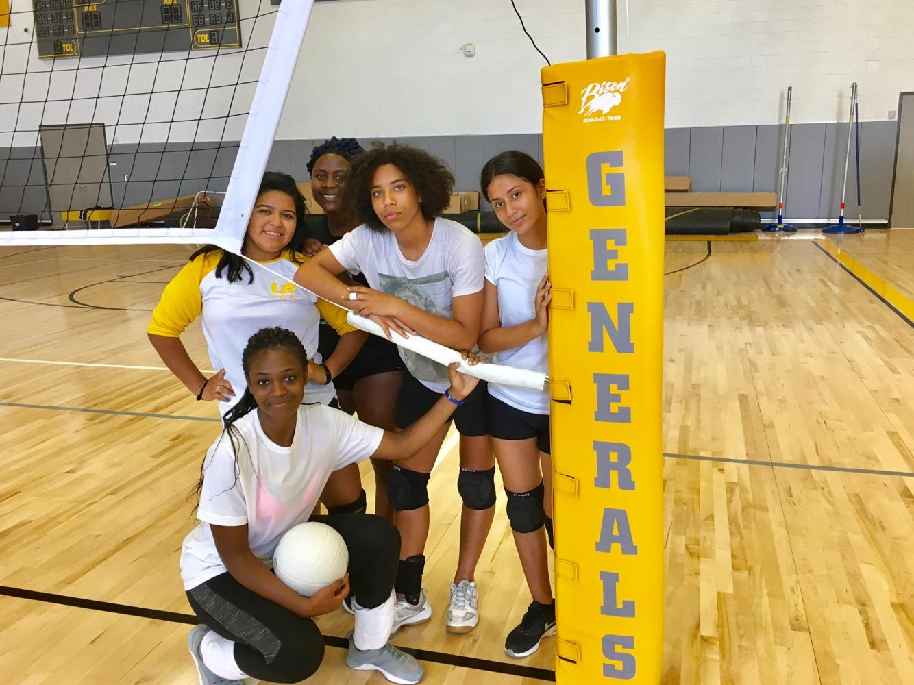 (L-R): Vanessa Villatoro, Pascaline Chuma, Adriana Sadler, Jackeline Umanzor & Awah Bodunrin will the lead the Wisdom Varsity Volleyball team into action in 2017.