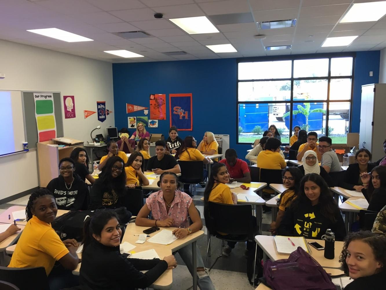 Seniors at Wisdom HS sit in their first period AP Government class on the very first day of school in the new building, Sept. 11, 2017.