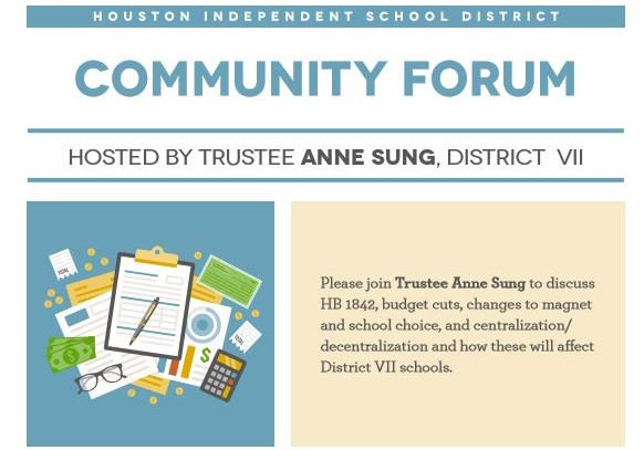 Town Hall with HISD Board Member Anne Sung: March 1 @ 6 pm