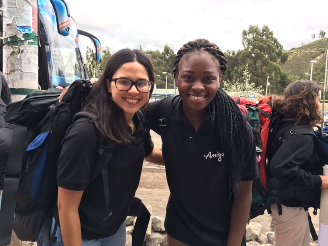 Wisdom HS senior Astrid Escobar (left) volunteered last summer in Ecuador
