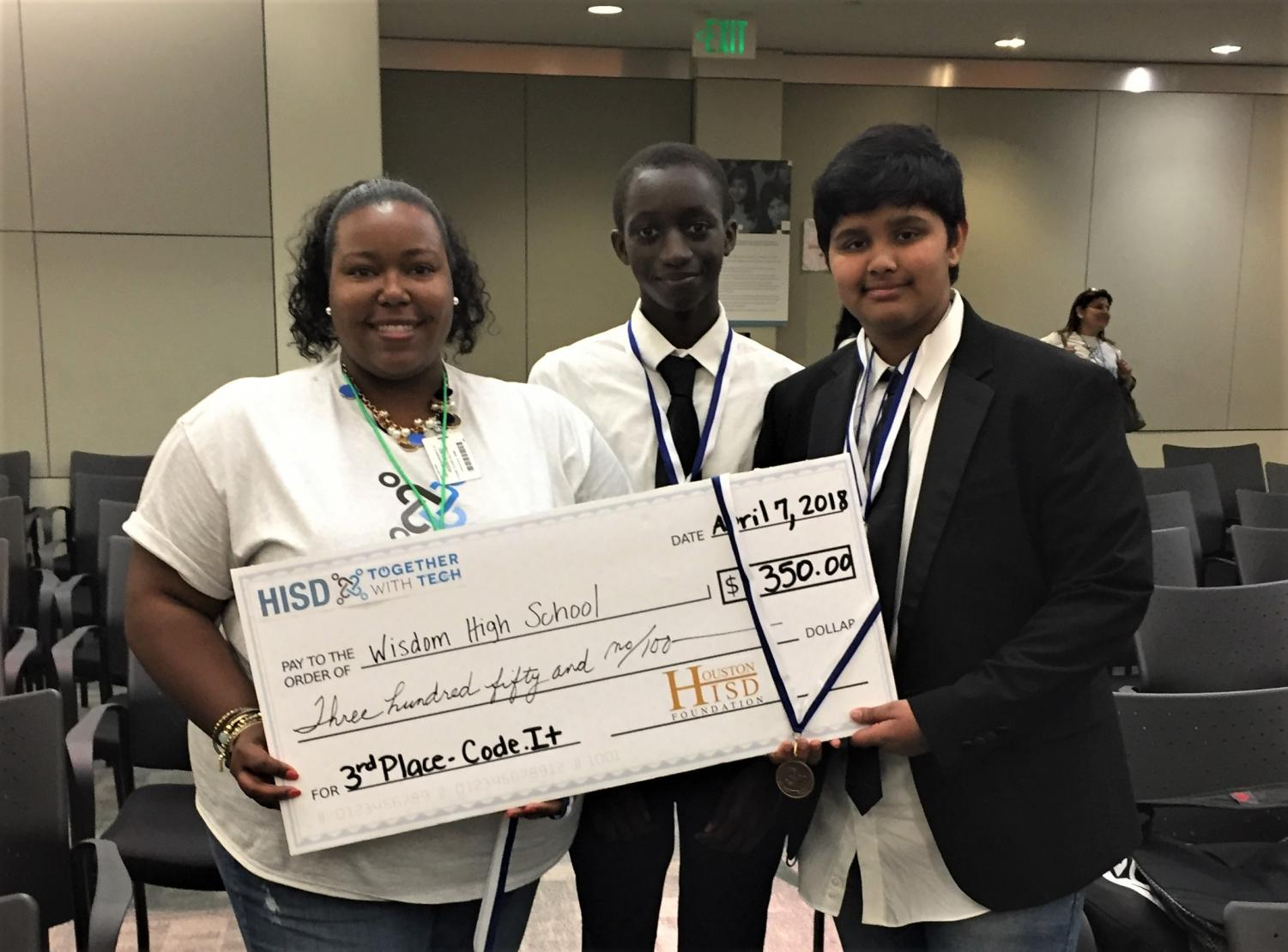 (L-R): Ms. Walker, Elhadji Toure & Sai Gurijala, represented Wisdom at the recent HISD Technology Contest