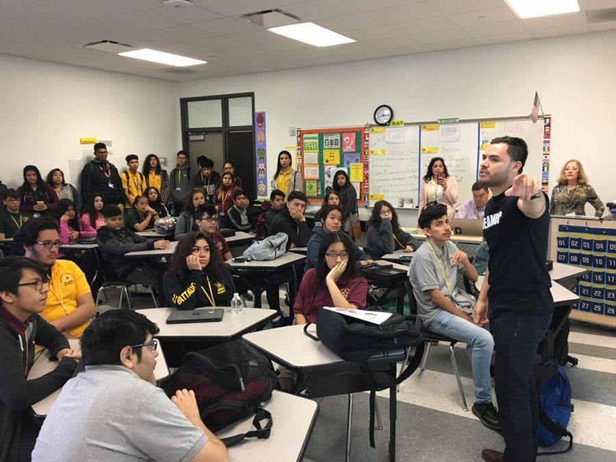 Carlos Salazar tells his story to a spanish class at Wisdom HS on Wednesday, April 25, 2018.