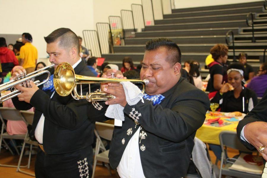 A trumpet player of the Mariachi band that performed at the Attendance Fiesta