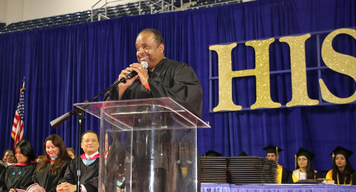 International Journalist Roland Martin was a guest speaker at the Wisdom HS Class of 2018 Graduation Ceremony; June 1, 2018 @ Delmar Fieldhouse