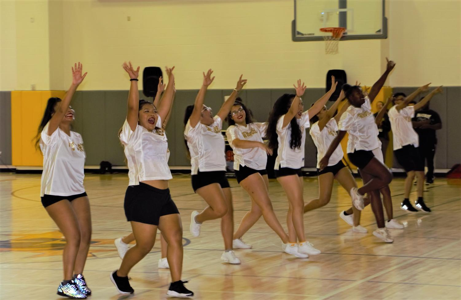 The Wisdom Cheerleading Team performing at the Homecoming Pep Rally; Friday, Oct. 5, 2018
