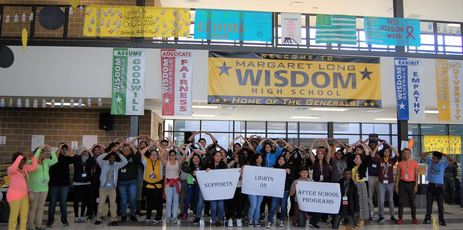 Students and After-School Club Directors at our Lights On Event at Wisdom HS