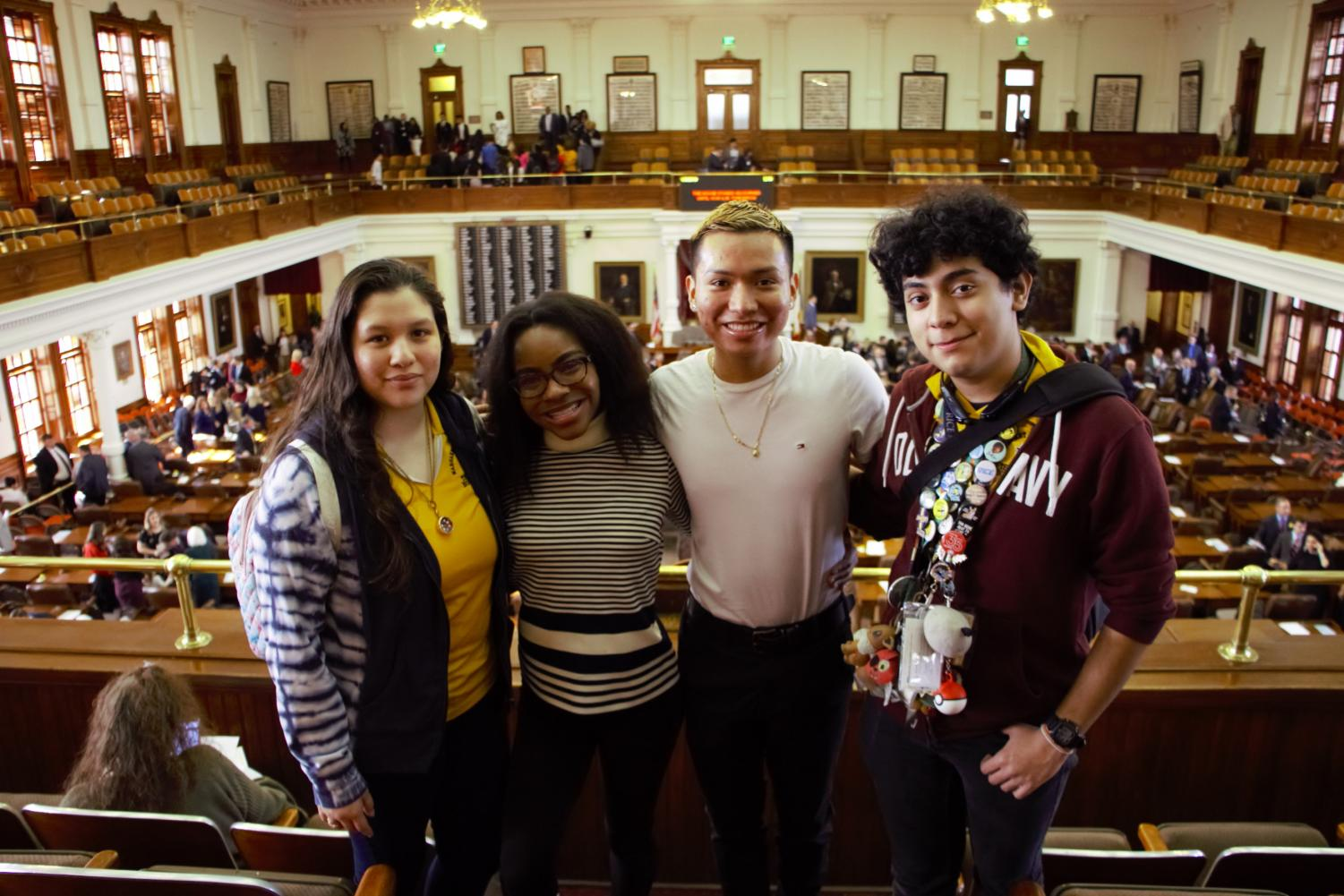 The Wisdom Chronicle & TV News Crew (L-R: Vazquez, Obasi, Poz, Arreola), in the Gallery at the Texas House of Representatives