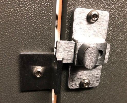 This photo shows a restroom door lock at Wisdom HS that was not aligned correctly to function, and would not lock. It has since been repaired.
