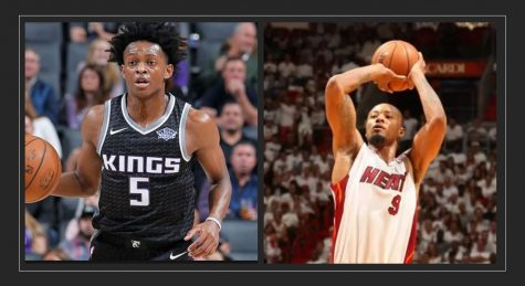 DeAaron Fox (left) of the Sacramento Kings; Rashard Lewis (right) former NBA player