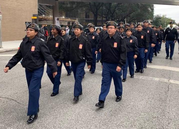 The+Wisdom+HS+JROTC+Marches+in+the+Houston+Veterans+Day+Parade
