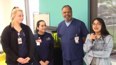 WTVN Reporter Jaqueline Vazquez interviews Nurse Thompson & his UT Health interns