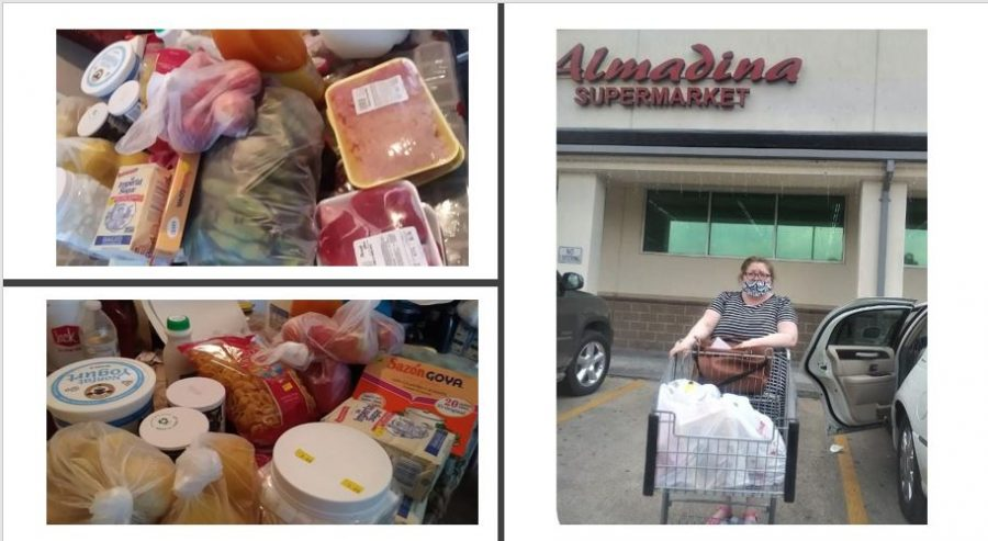 A parent of a Wisdom HS student picks up her donated groceries from the Almadina Market